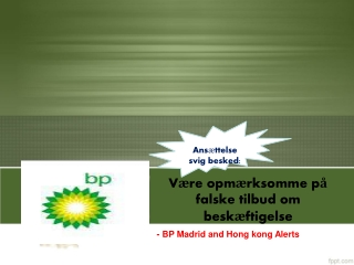 Ansættelse svig besked : Være opmærksomme på falske tilbud o