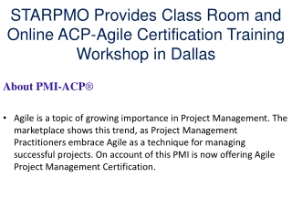 STARPMO Provides ACP-Agile Certification Training in Dallas