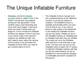 The Unique Inflatable Furniture