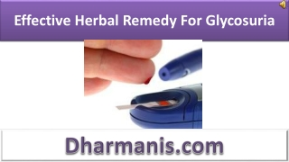 Effective Herbal Remedy For Glycosuria