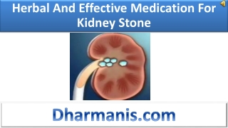 Herbal And Effective Medication For Kidney Stone