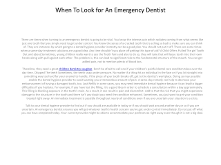 When To Seek out An Emergency Dental practices