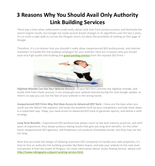 3 Reasons Why You Should Avail Only Authority Link Building