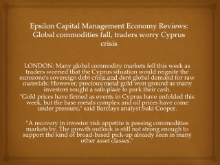 Epsilon Capital Management Economy Reviews: Global commoditi