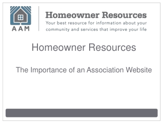 Homeowner Resources: The Importance of an Association Websit
