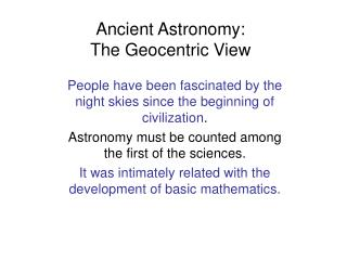 Ancient Astronomy: The Geocentric View