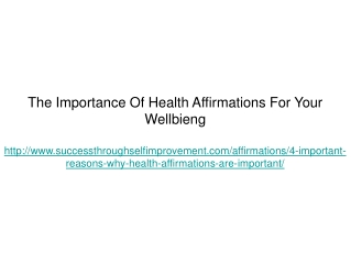 The Importance Of Health Affirmations