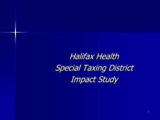 Halifax Health Special Taxing District  Impact Study