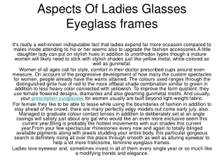 Aspects Of Ladies Glasses Eyeglass frames