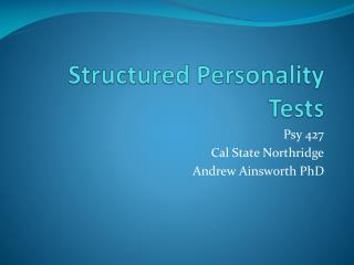 Structured Personality Tests