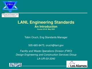 LANL Engineering Standards An Introduction Course 24140  May 2003