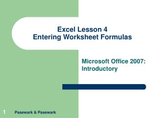 Excel Lesson 4 Entering Worksheet Formulas