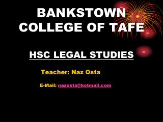 BANKSTOWN COLLEGE OF TAFE HSC LEGAL STUDIES