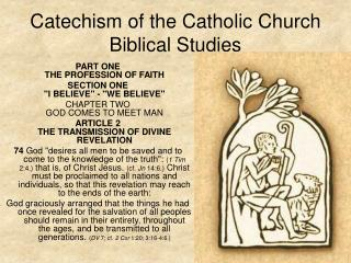 Catechism of the Catholic Church Biblical Studies