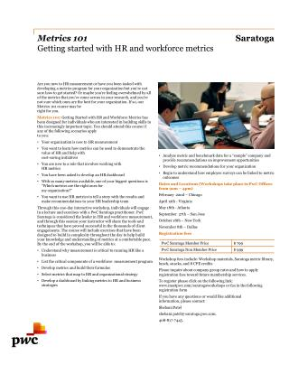 Metrics  101  Getting started with HR and workforce metrics