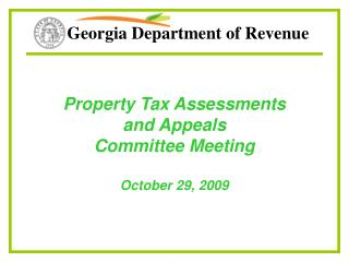 Property Tax Assessments  and Appeals Committee Meeting October 29, 2009