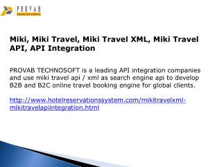 Miki, Miki Travel, Miki Travel XML, Miki Travel API, API Int