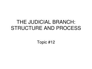 THE JUDICIAL BRANCH: STRUCTURE AND PROCESS