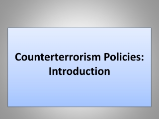 Counterterrorism Policies: Introduction