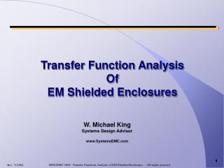 Transfer Function Analysis Of EM Shielded Enclosures