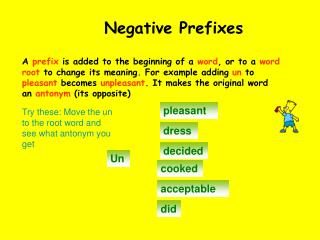 Choose negative prefixes from the box to make each of these words into antonyms.