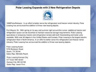 Polar Leasing Expands with 3 New Refrigeration Depots