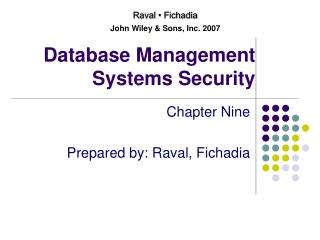 Database Management Systems Security