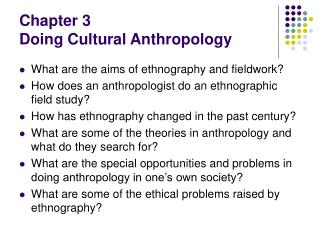 Chapter 3  Doing Cultural Anthropology