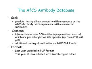 The AfCS Antibody Database