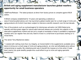 British anti aging supplement manufacturer launches global r
