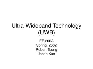 Ultra-Wideband Technology (UWB)