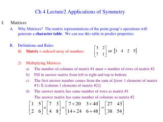 Ch 4 Lecture2 Applications of Symmetry