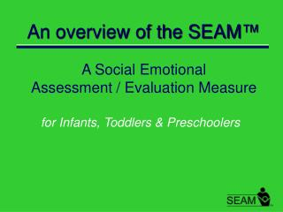 An overview of the SEAM ™ A Social Emotional  Assessment / Evaluation Measure
