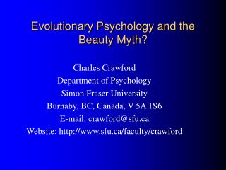 Evolutionary Psychology and the Beauty Myth?