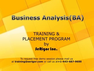 Business Analyst Traininga and Placement program