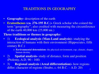 TRADITIONS IN GEOGRAPHY