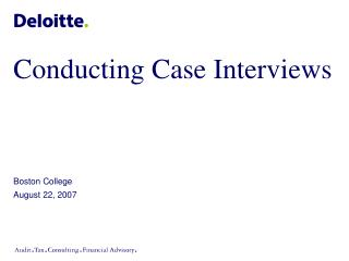 Conducting Case Interviews