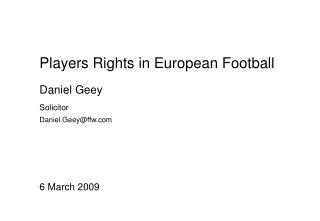 Players Rights in European Football