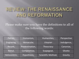 Review: The Renaissance and Reformation