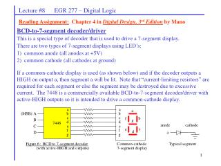 Lecture #8      EGR 277 – Digital Logic