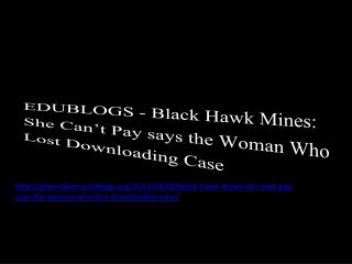 EDUBLOGS - Black Hawk Mines: She Can't Pay says the Woman Wh