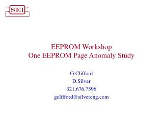 EEPROM Workshop One EEPROM Page Anomaly Study