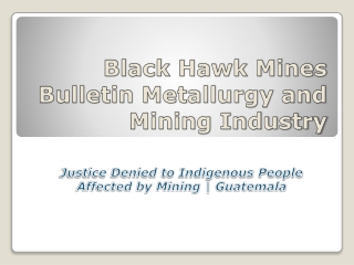 Black Hawk Mines Bulletin Metallurgy and Mining Industry
