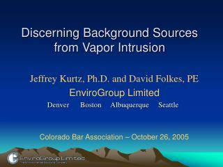 Discerning Background Sources from Vapor Intrusion