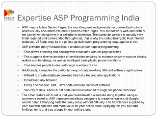 Expertise ASP Programming India