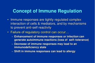 Concept of Immune Regulation