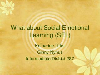 What about Social Emotional Learning (SEL)