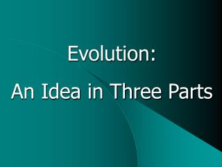 Evolution:  An Idea in Three Parts