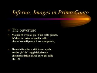 Inferno: Images in Primo Canto