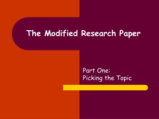 The Modified Research Paper